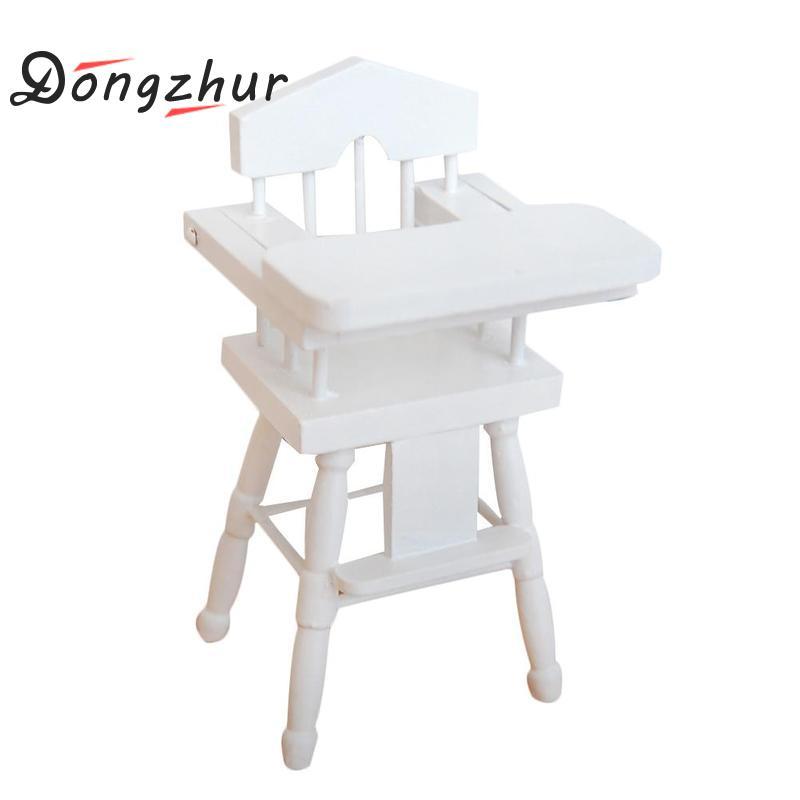 [해외]Dollhouse 소형 1시 12 분 화이트 자작 나무 베이비 다이닝 의자 Miniaturas 인형 하우스 가구 액세서리 나무 장난감 집/Dollhouse Miniature 1:12 White Birch Baby Dining Chair  Miniaturas Do