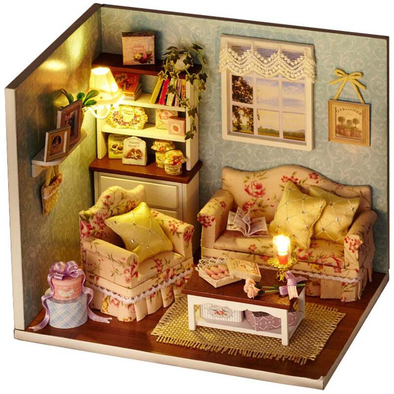 [해외]세공 가구 미니어처 DIY 인형 주택 방 나무 인형 집 어린이장난감 생일 선물 공예품 어린이 장난감 - 행복한 만나요/Handwork Furniture Miniature DIY Doll Houses Room Wooden Doll House Toys For Chi