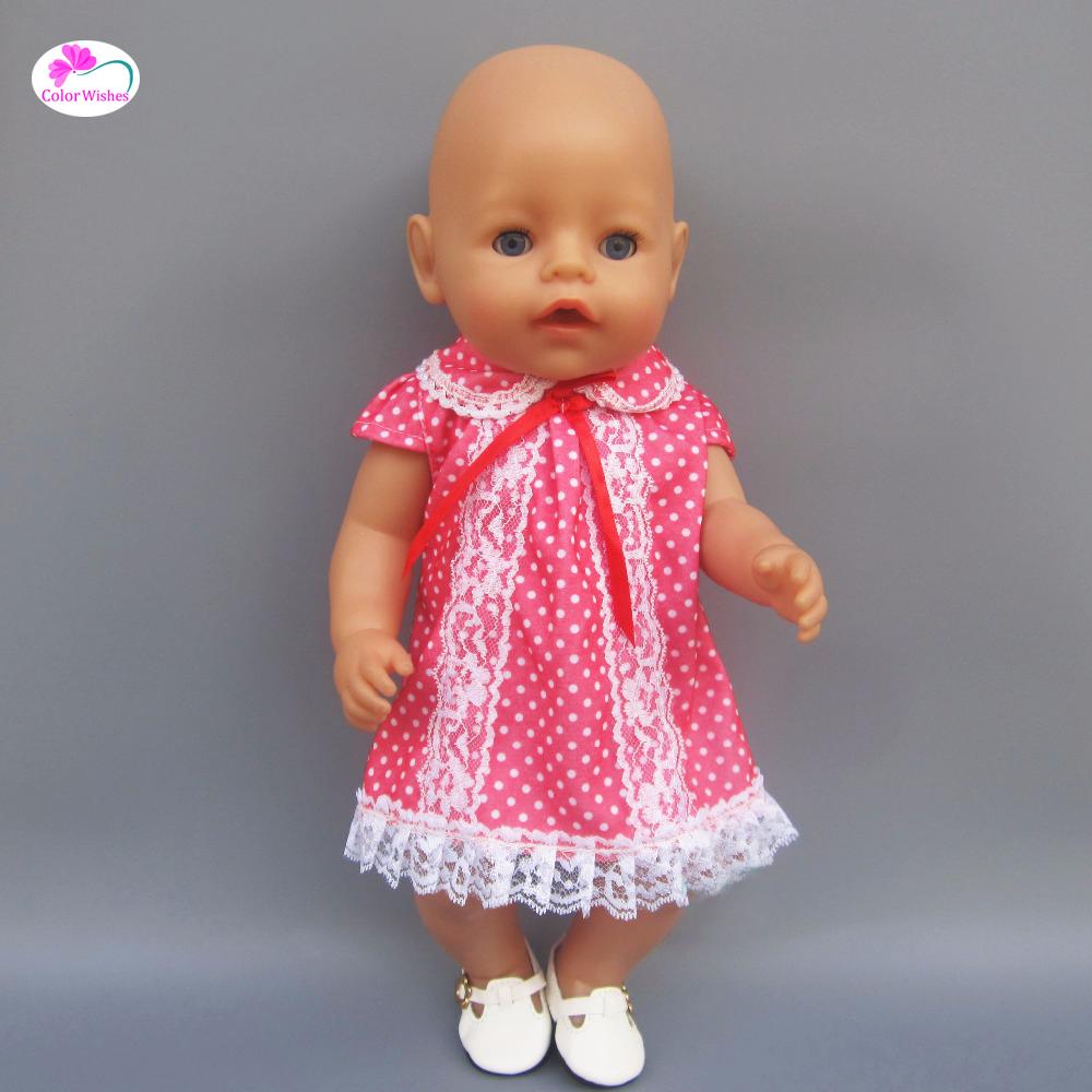 [해외]빨간 레이스 드레스 인형 용 옷 43 cm 아기 출산 선물/Red lace dress Clothes for dolls fits 43 cm Baby Born zapf doll for Child&s birthday present