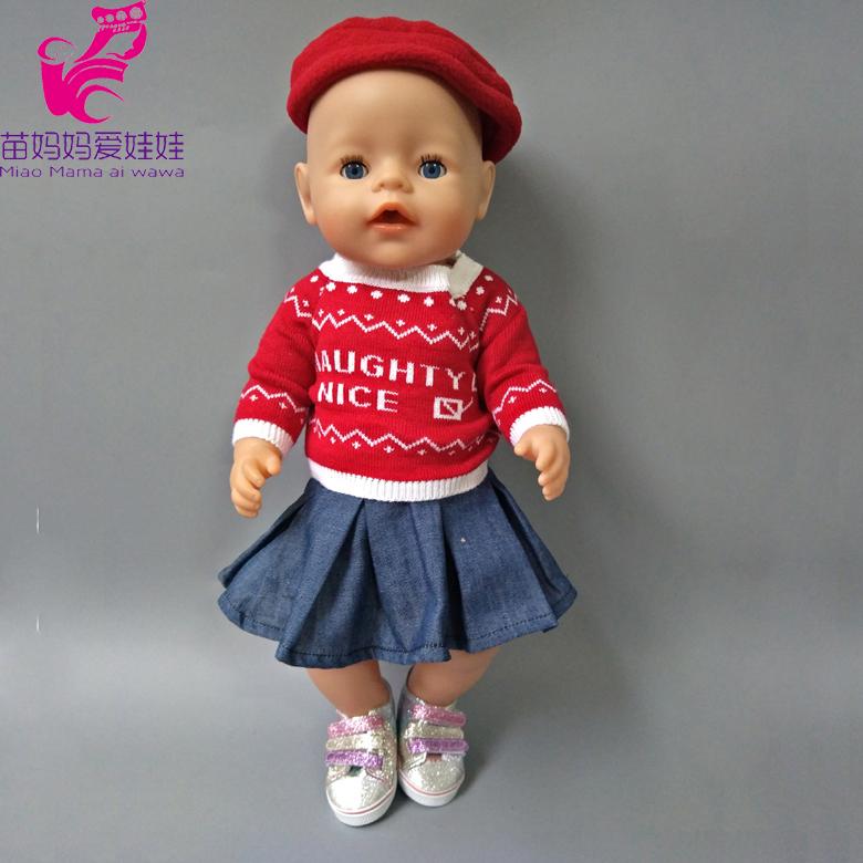 [해외]43cm Zapf 청바지 복장 스웨터 모자 세트 18 인치 인형을새로운 Born Doll Clothese/Jeans dress sweater hat sets for 43cm Zapf Baby boy new Born Doll clothese for 18 inch