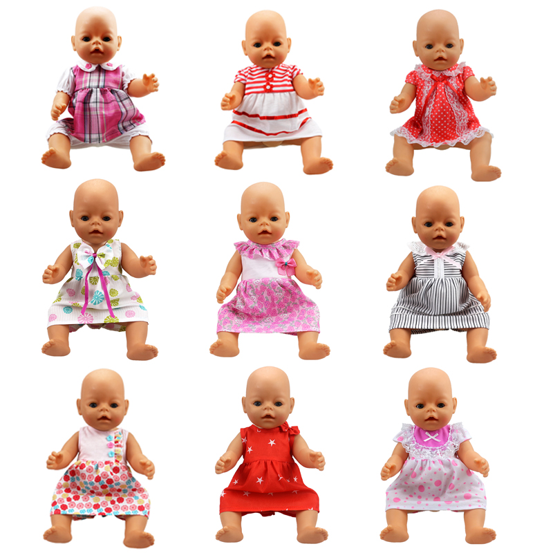 [해외]18 & 16 인치 베이비 인형 드레스 반팔 조끼 스커트 나비 드레스 사랑스러운 라운드 칼라 스커트 인형 액세서리 크리스마스 선물/18&16 inch baby born doll dress short sleeved vest skirt butterfl