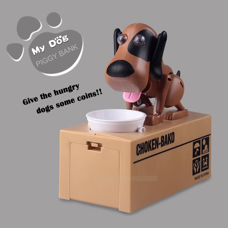 [해외]큰 상자 갈색 저축 개 동전 압력, 자동 저축 구성 요소를 넣어 돈 상자 개 돼지 저금통 키즈 선물/Big box brown savings dog  put coins under pressure, automatic savings  component Money Bo