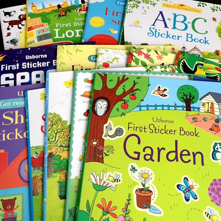 [해외]교육 만화 어린이 영어 스티커 책 24pcs / lot 단어 / 숫자 / 장면 / 자동차 / 성 / 기차 / 굴착기 / 정원 / 우주/Educational Cartoon Children English Stickers Books 24pcs per lot Words