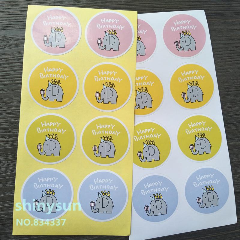[해외]80pcs / lot 장식 스티커 4colors 귀여운 아기 코끼리 해피 생일 다기능 장식 스티커 포장 스티커/80pcs/lot decorative sticker 4colors Cute baby elephant Happy Birthday Multi-Functio