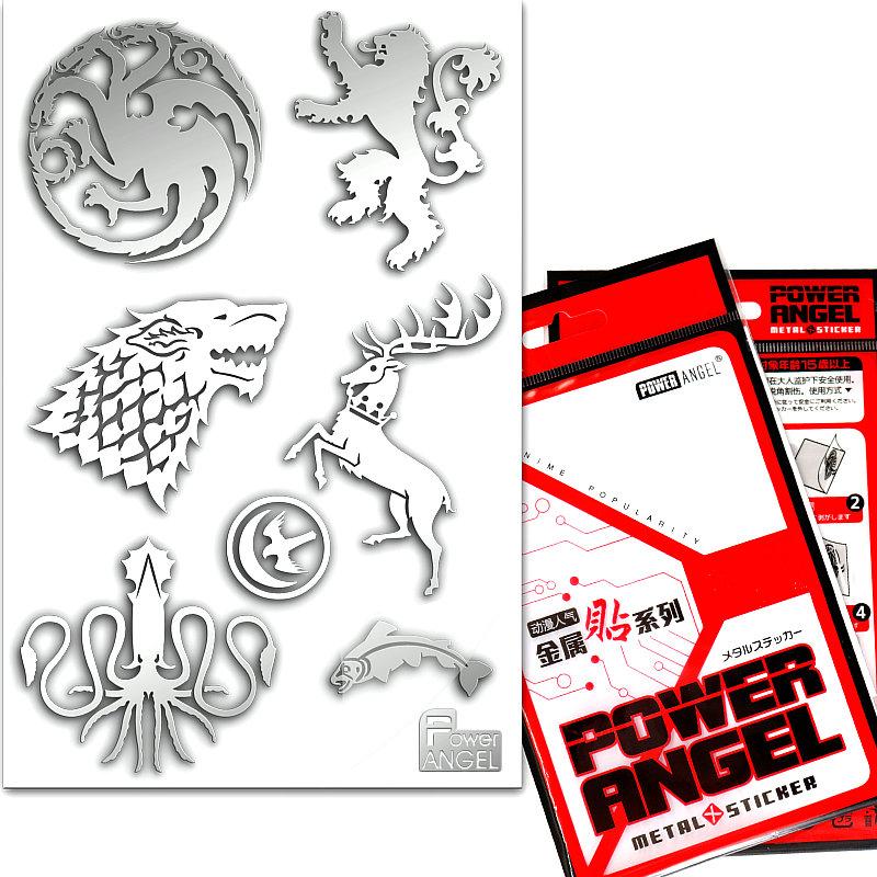 [해외]왕좌의 Hot TV 게임 전화에 대 한 3D 금속 스티커 노트북 자동차 냉장고 데 칼 스티커 럭셔리 장난감 스티커/Hot TV Game of Thrones 3D Metal Stickers For Phone Laptop Car Fridge Decal Sticker