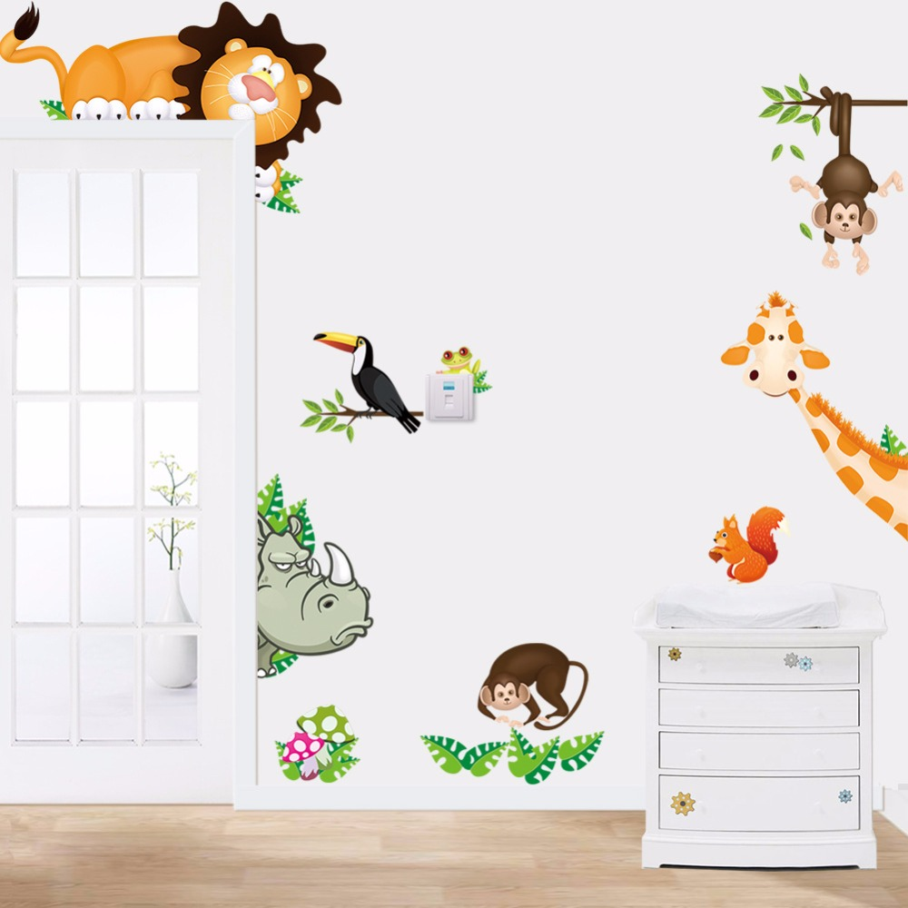 [해외]스티커 홈 장식 사진 정글 숲 동물원 어린이 / 성인을거실 / 침실/Sticker Home Decor Pictures Jungle Forest Zoo Animals Living Room/Bedroom for Kids/Adults