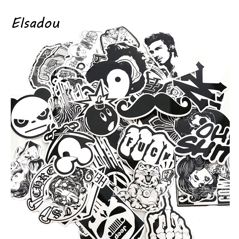 [해외]Elsadou 60 PC 흑백 반복 팬더 패션 스티커/Elsadou 60 pcs Black and white No Repeat Panda Fashion Sticker