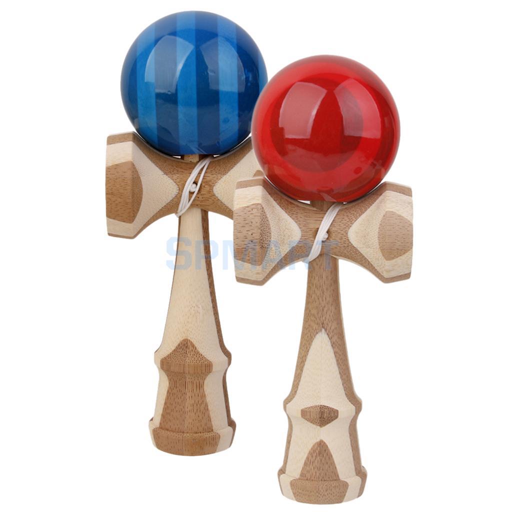 [해외]켄 다마 일본 볼 대나무 던지기 스킬 게임 장난감 레드와 블루 잡기/Kendama Japanese Ball Bamboo Tossing Catching Skill Game Toys Red and Blue