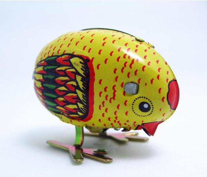 [해외]클래식 바람 어린이 칙 양철 장난감 시계 봄 Pecking 병아리 빈티지 스타일 어린이 WJ042 들어/New Arrival Classic Wind Up Children Chick Tin Toy Clockwork Spring Pecking Chick Vintag