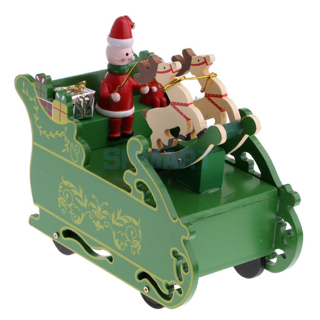 [해외]크리스마스 썰매 음악 상자 산타 클로스 순 록 음악 장난감 크리스마스 시계 장식품 장식품/Christmas Sleigh Music Box Santa Claus Reindeer Musical Toy Xmas Clockwork Ornaments Decor