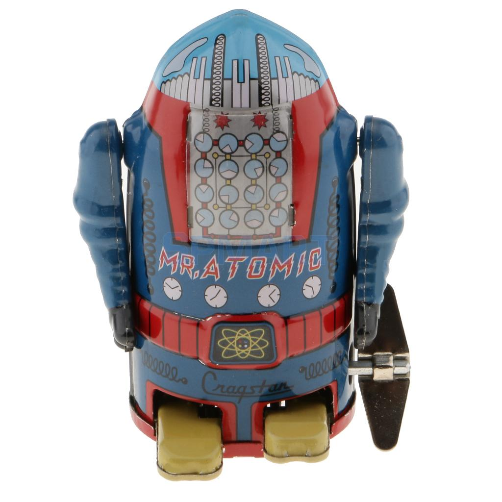 [해외]빈티지 바람 시계 기계 도보 양철 로봇 장난감 블루 수집품/Vintage Wind Up Clockwork Mechanical Walking Tin Robot Toy Blue Collectibles