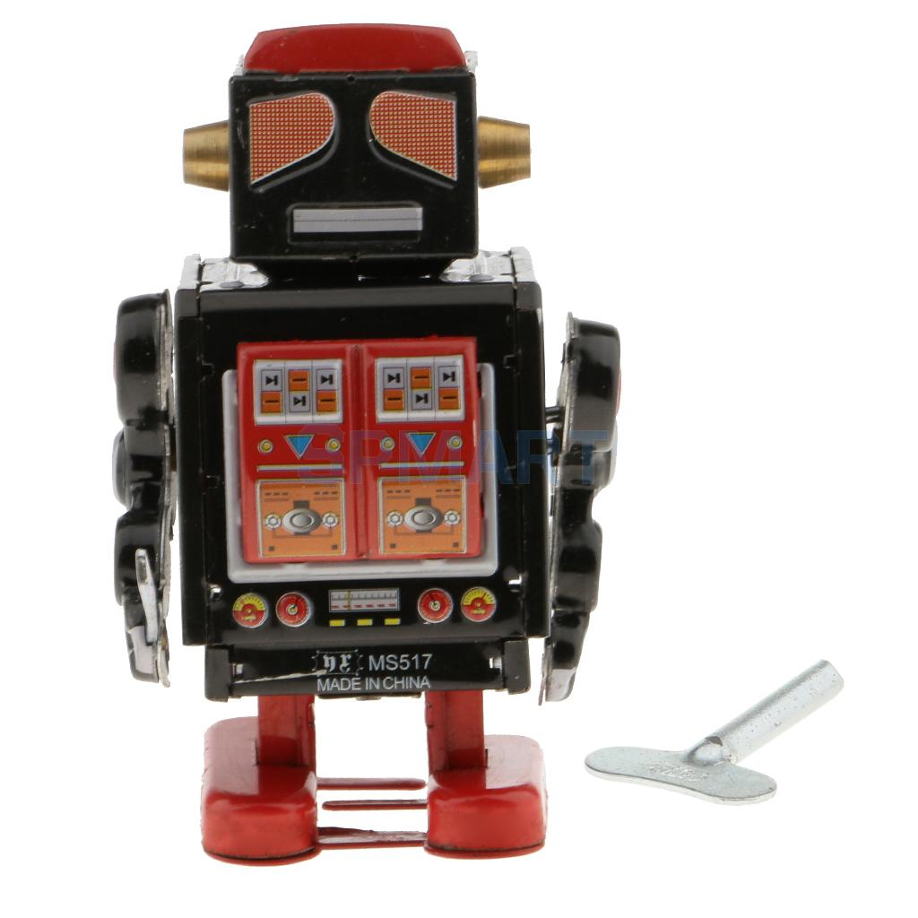 [해외]빈티지 바람 시계 기계 걷기 경찰 로봇 모델 주석 장난감 컬렉션 아이 / 성인을위한/Vintage Wind Up Clockwork Mechanical Walking Police Robot Model Tin Toy Collection for Kids/Adults