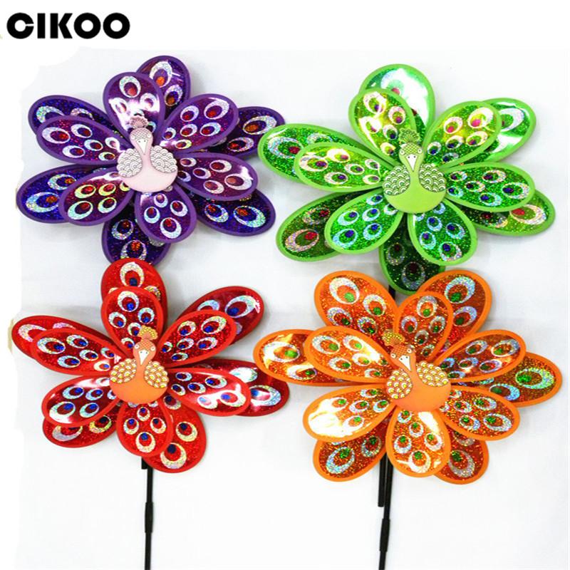 [해외]CIKOO 1Pc 핫 더블 레이어 공작의 레이저 장식 조각 풍차 다채로운 바람 스피닝 아이 장난감/CIKOO 1Pc Hot Double Layer Peacock Laser Sequins Windmill Colorful Wind Spinner Kids Toy