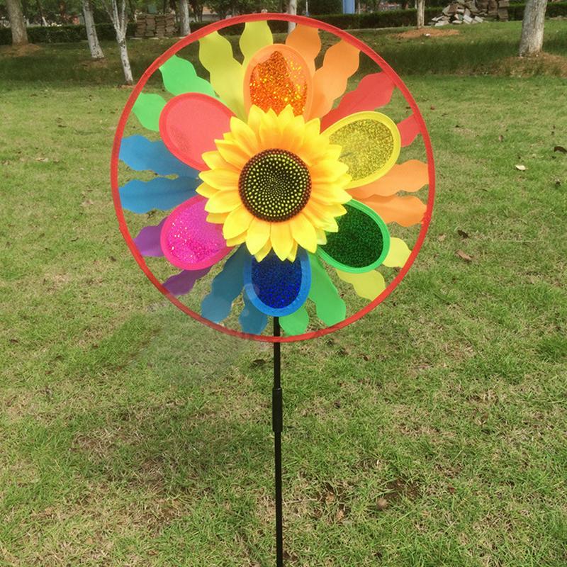 [해외]2017 어린이 해바라기 풍차 바람 스피너 레인보우 Whirligig Wheel 홈 잔디밭 장식 Hot/2017 Kids Sunflower Windmill Wind Spinner Rainbow Whirligig Wheel Home Lawn Yard Decor H