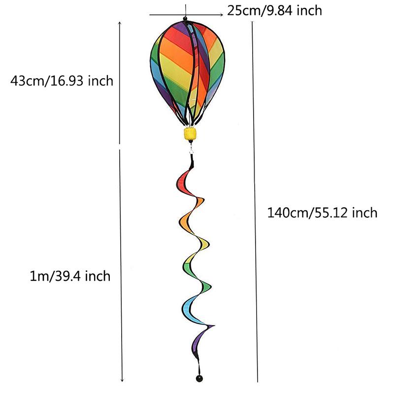 [해외]1Pc 무지개 스트라이프 Windsock 열기구 풍선 바람 스피너 야외 키즈 장난감/1Pc Rainbow Stripe Windsock Hot Air Balloon Wind Spinner Outdoor Kids Toy