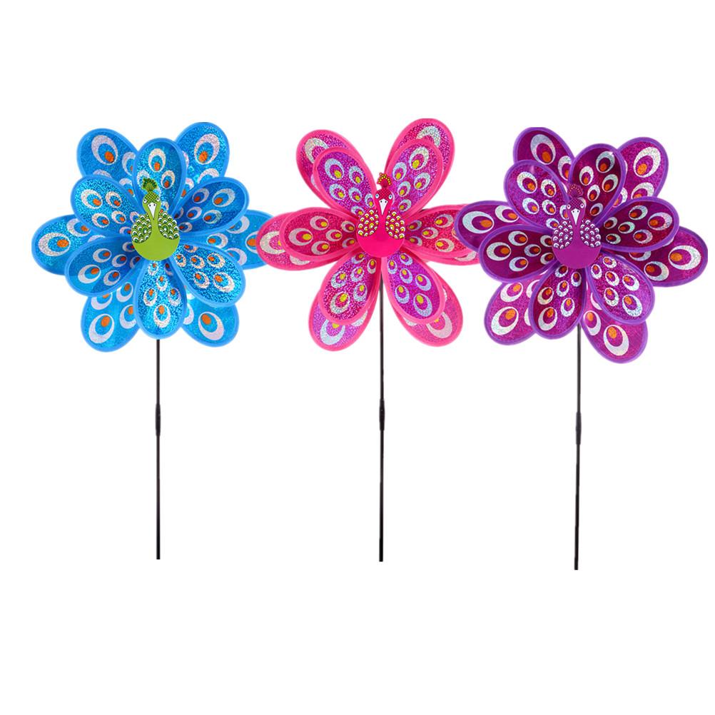 [해외]1PCS 핫 더블 레이어 공작의 레이저 sequins 풍차 다채로운 바람 스피닝 아이 장난감/1PCS Hot Double Layer Peacock Laser Sequins Windmill Colorful Wind Spinner Kids Toy
