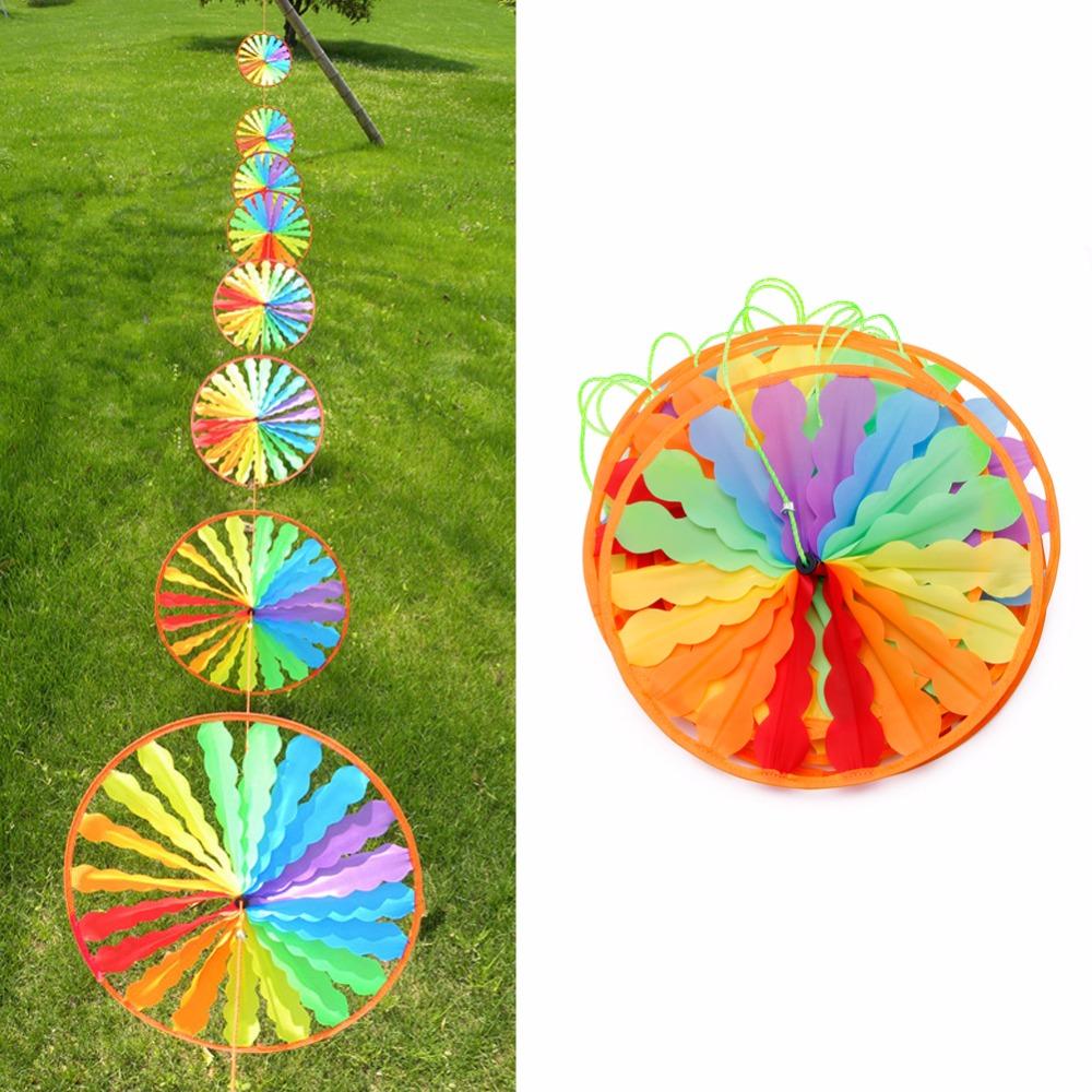 [해외]1Pc 새로운 레인보우 휠 풍차 바람 회 전자 Whirligig 가든 홈 잔디 장식 아이 장난감/1Pc New Rainbow Wheel Windmill Wind Spinner Whirligig Garden Home Lawn Decoration Kids Toy