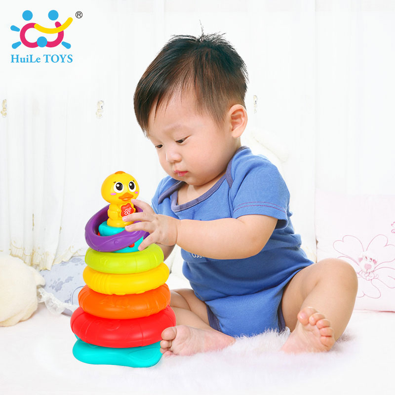 [해외]HUILE TOYS 2101 Kids 레인보우 스태킹 오리 Baby ToyColorful Rings StackersMusic & amp; 소리 & amp; 어린 이용 조명 완구/HUILE TOYS 2101 Kids Rainbow Stacking D