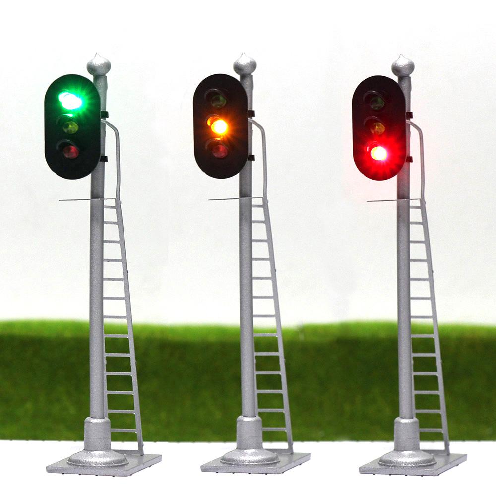 [해외]JTD873 3pcs 모델 교통 신호 단일 모델 철도 기차 신호 3 빛 2 광 블록 신호 1:87 호 스케일 철도 모델링/JTD873 3pcs Model Traffic Light singal Model Railroad Train Signals 3-Light 2-