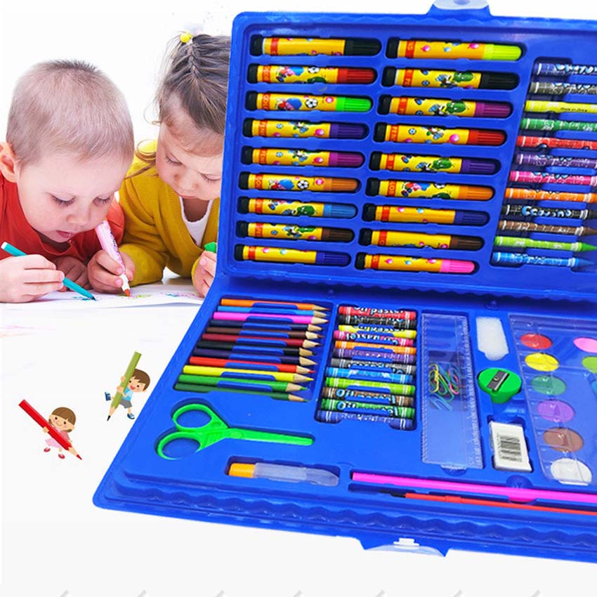 [해외]42/86 Pc Children Combination Painting Tool Set 물 - 컬러 파우더 아이 크레용 캔버스 드로잉 학교 용품 편지지/42/86 Pc Children Combination Painting Tool Set Water-color Po