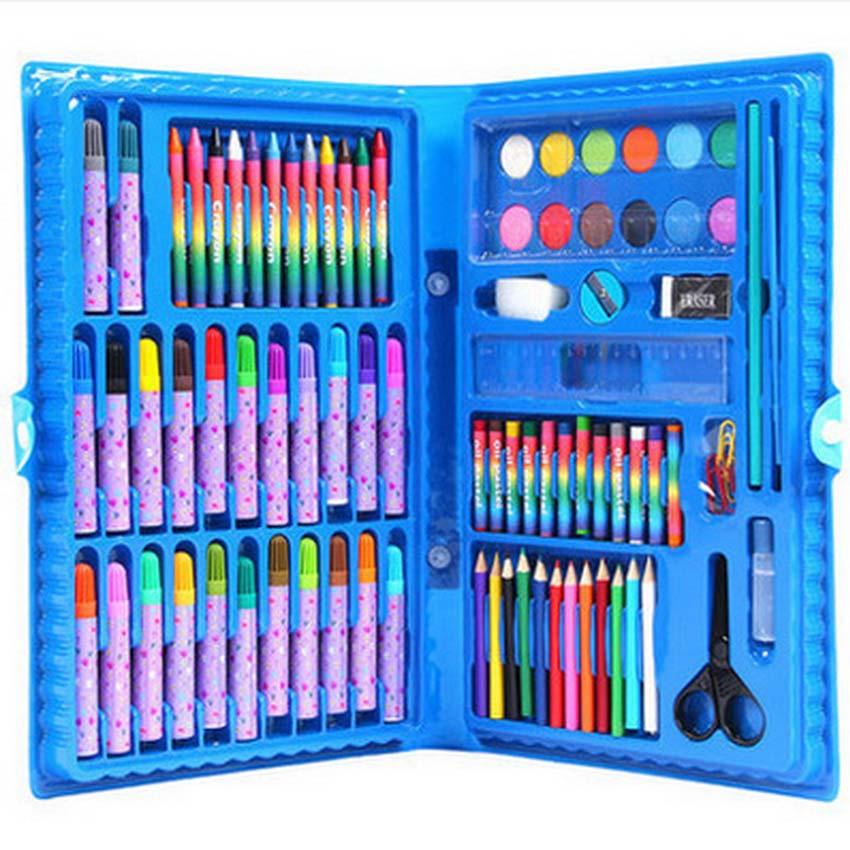 [해외]86 PC / Set 어린이 수채화 물감 펜 Painting 교육 그림 완구 정장 그리기 장난감 세트 Safe Non-toxic Water Washing Graffiti/86 Pcs/Set Children Watercolor Pen Painting Educati