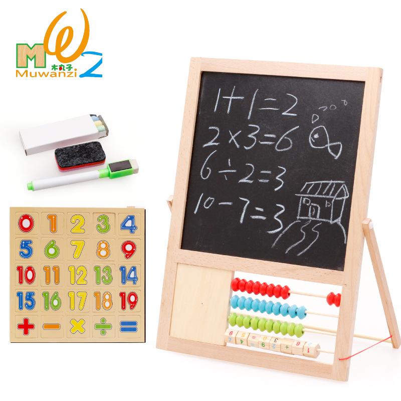 [해외]MWZ 다기능 자기 양면 보드 너도밤 나무 나무 칠판 수학 장난감 어린이 학습 교육 완구/MWZ Multifunctional Magnetic Double-faced Board Beech Wooden Blackboard Math Toys Children&s Lea