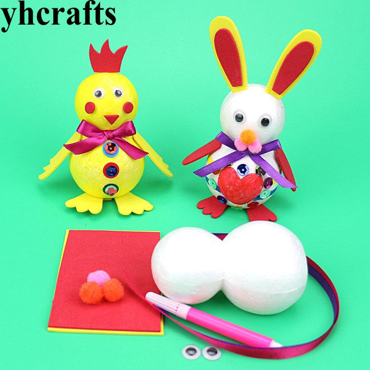 [해외]8PCS / LOT DIY 폴리스티렌 치킨 토끼 공예 키트 포켓 공예 부활절 교묘 초기 교육 장난감 DIY 장난감 유치원 장난감/8PCS/LOT DIY polystyrene chicken rabbit craft kits Pocket crafts Easter cr