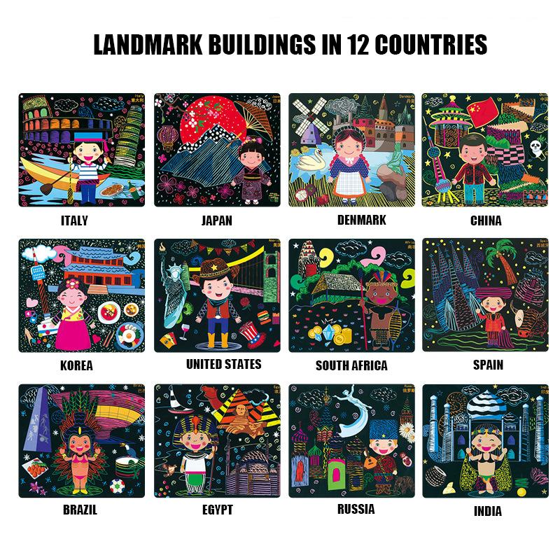 [해외]DIY 세계 여행 매직 다채로운 그리기 게시판 종이 그림 긁어 모으는 아이들 교육 완구 그림 스크래치 완구/DIY World Trip Magic Colorful Drawing Board Paper Painting Scraping Children Kids lear