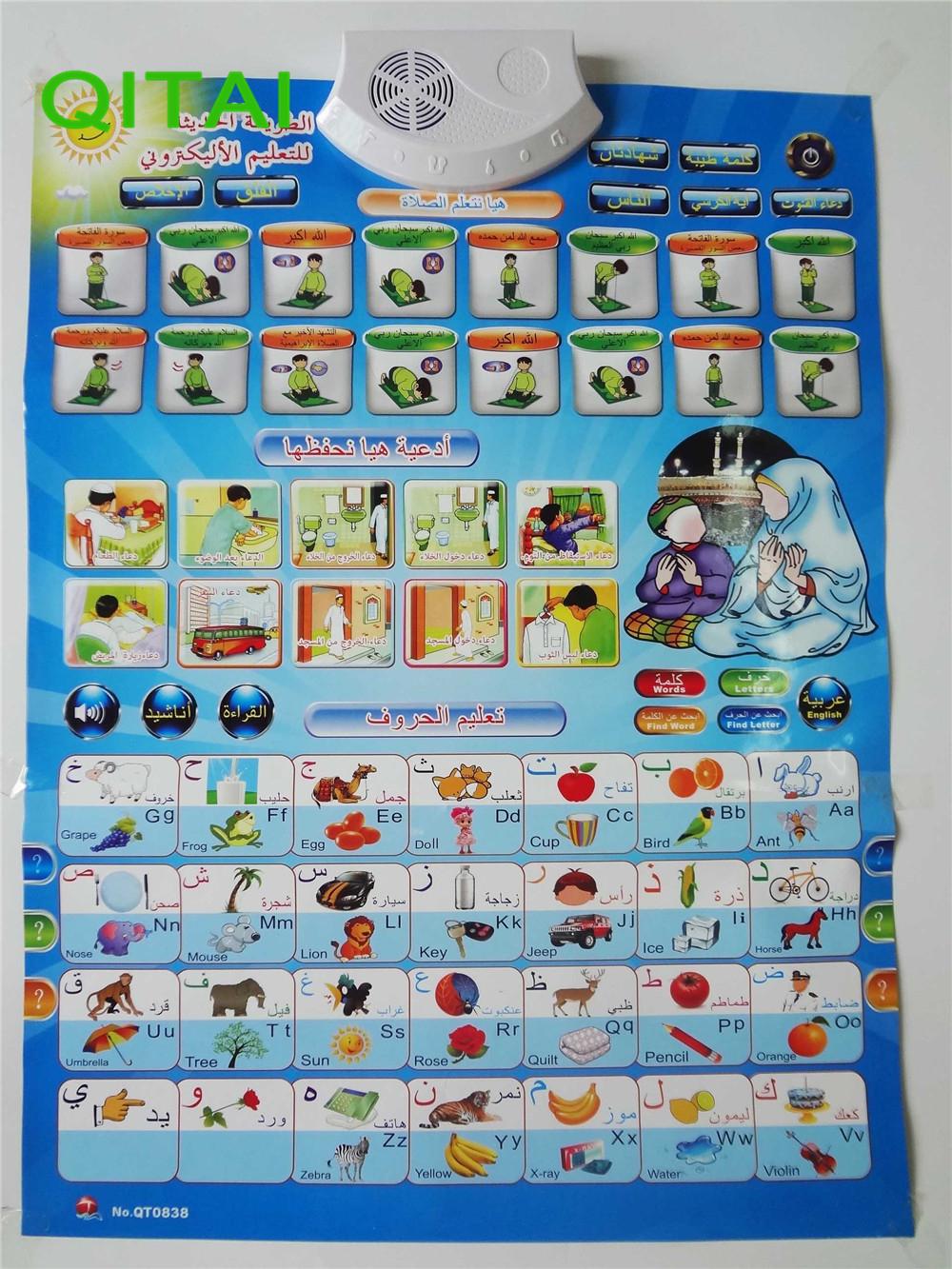 [해외]아랍어 & amp; 영어 Phonic 벽 교수형 차트 무슬림 이야기 포스터 어린이를선물 선물 학습 교육 코란 장난감/Arabic & English language Phonic Wall Hanging Chart Muslim talking poster