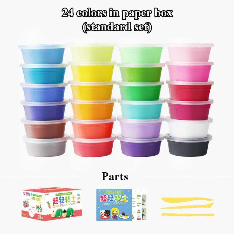 [해외]12 색상/24 색상 부드러운 폴리머 모델링 클레이 도구 좋은 패키지 장난감 diy 공기 건조 폴리머 클레이 plasticine playdough.