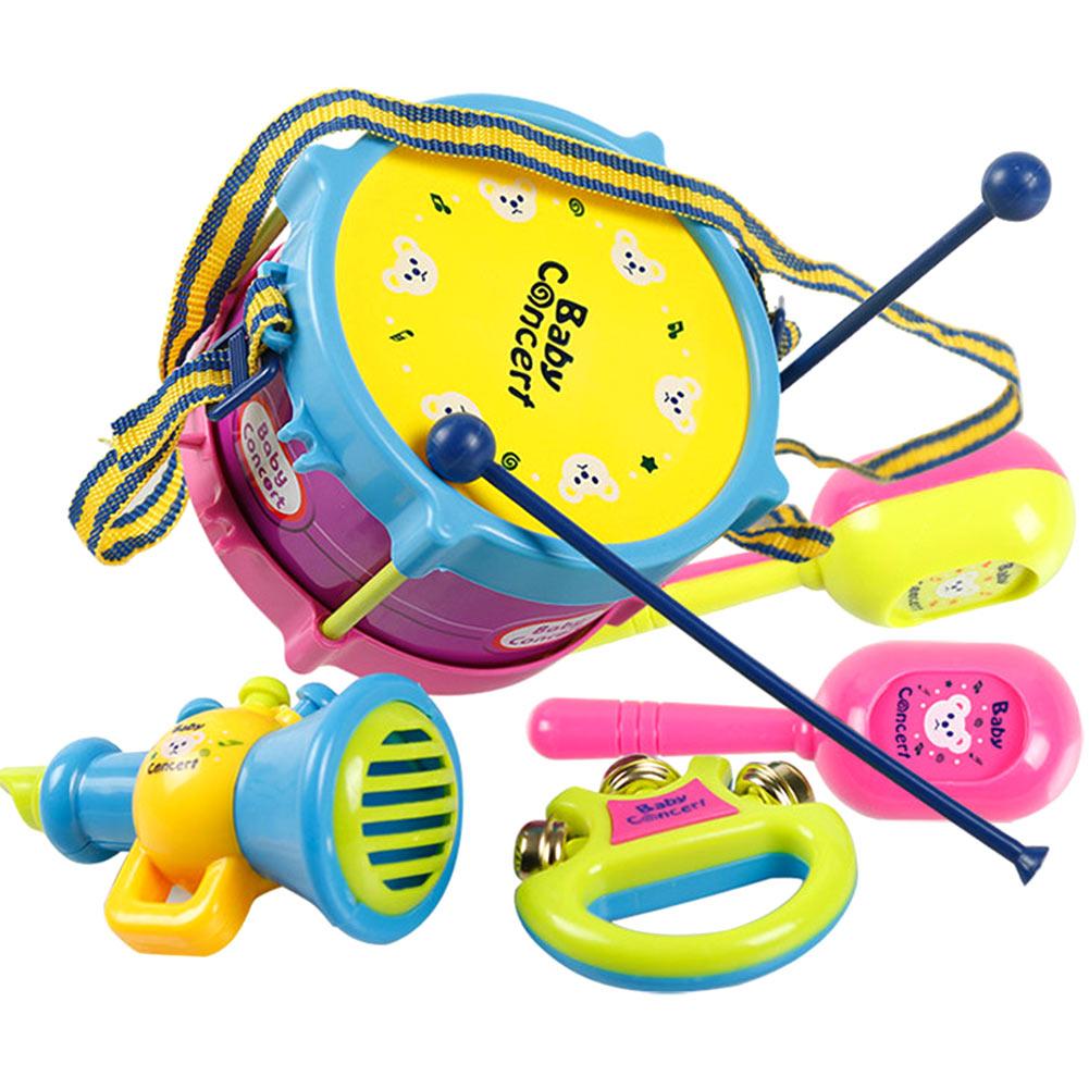 [해외]5 개 세트 / 어린이 아기 유아 롤 드럼 경적 음악 장난감 세트 미니 파악 핸드 악기 조기 교육 완구 FJ88/5 Pcs/Set Kids Baby Infant Roll Drum Horn Music Toy Sets Mini Grasp Hand Musical In