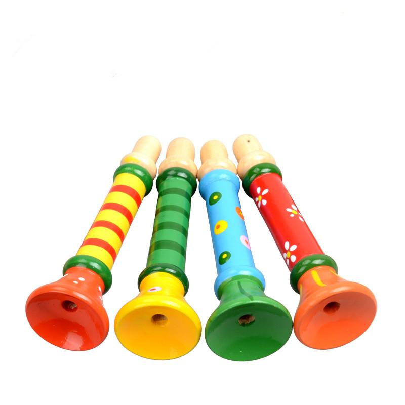 [해외]2pcs 임의의 색상 어린이다채로운 나무 트럼펫 Buglet 야행 Bugle 교육 장난감 선물/2pcs random color Colorful Wooden Trumpet Buglet Hooter Bugle Educational Toy Gift for Kids