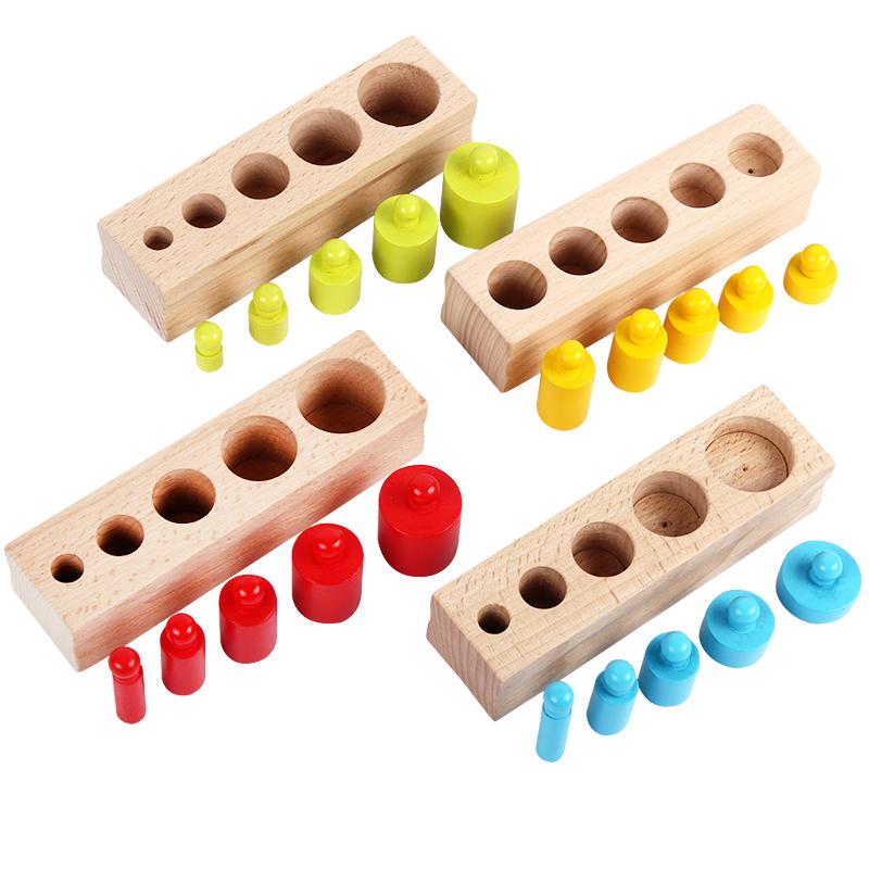 [해외]키즈 몬테소리 장난감 다채로운 소켓 실린더 세트 너도밤 나무 나무 여러 가지 빛깔의 블록 조기 교육 수학 가르침 장난감/New Arrival Kids Montessori Toys Colorful Socket Cylinder Set Beech Wood Multic