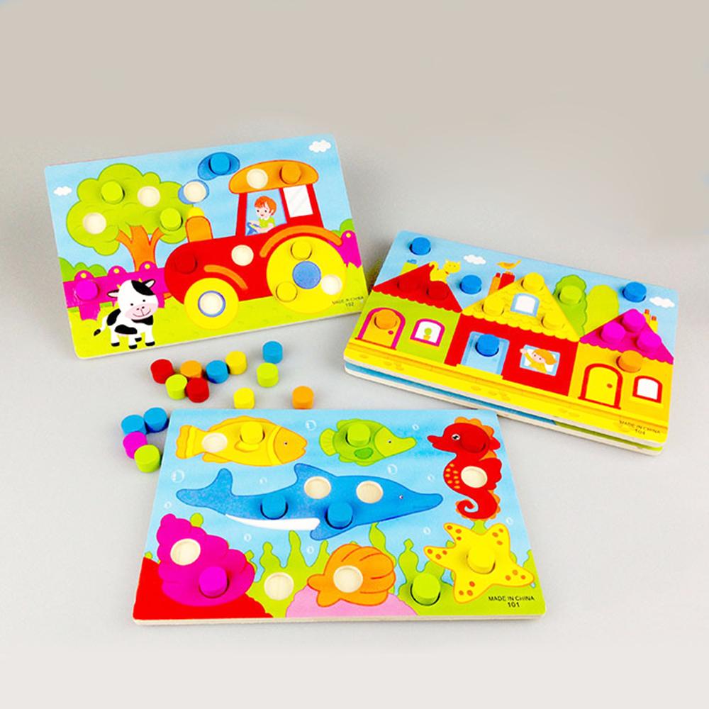 [해외]색상 인식 보드 Montessori 교육 완구 어린이를나무 장난감 퍼즐 초기 학습 컬러 매치 게임/Color Cognition Board Montessori Educational Toys For Children Wooden Toy Jigsaw Early Lear