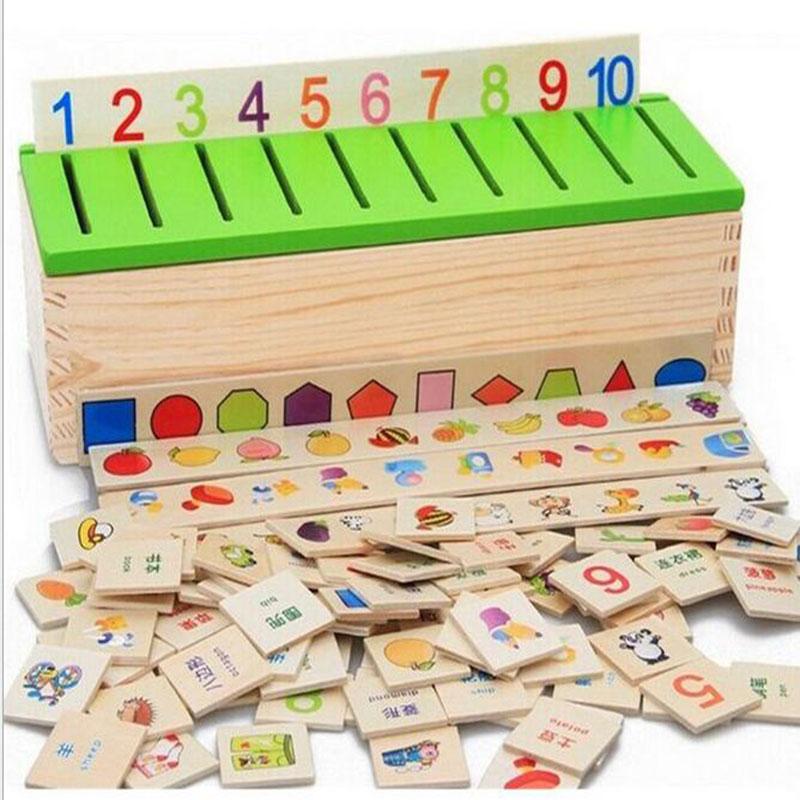 [해외]나무 분류 장난감 상자 몬테소리 어린이 패턴 매칭 장난감 교육 기하학 과일 동물 학습 성냥 장난감/Wooden Classification Toy Box Montessori Kids Pattern Matching Classify Toy Educational Geo