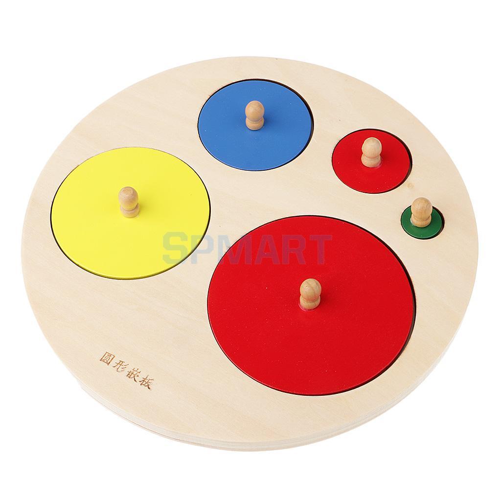 [해외]몬테소리 수학 교육 너도밤 나무 장난감 - 도형 라운드 삽입 퍼즐/Montessori Mathematics Educational Beechwood Toy - Geometry Round Insert Puzzles