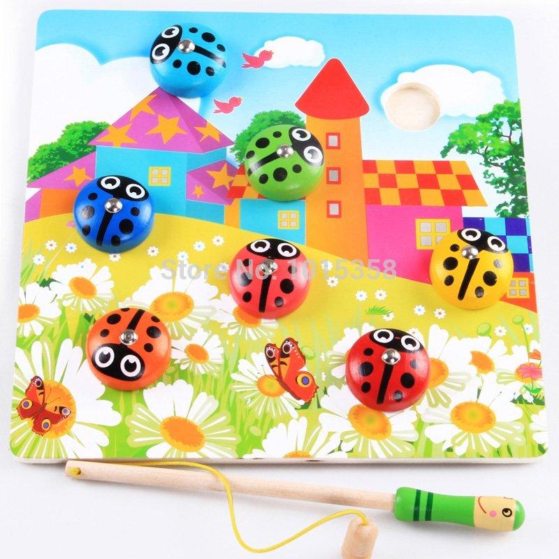 [해외] 자석 낚시 장난감, 낚시 딱정벌레, 키즈 클래식 나무 장난감, 학습과 아기 장난감 교육/Free shipping magnetic fishing toys, fishing beetles, Kids classic wooden toys, learning and edu