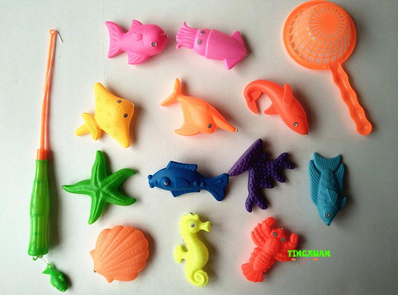 [해외]어린이 14pcs / 설정 자기 낚시 부모 - 자식 대화 형 장난감 게임 어린이 1 막대 1 그물 12 3D 물고기 아기 목욕 장난감 야외 장난감/Children&s 14pcs/Set Magnetic Fishing Parent-child interactive T