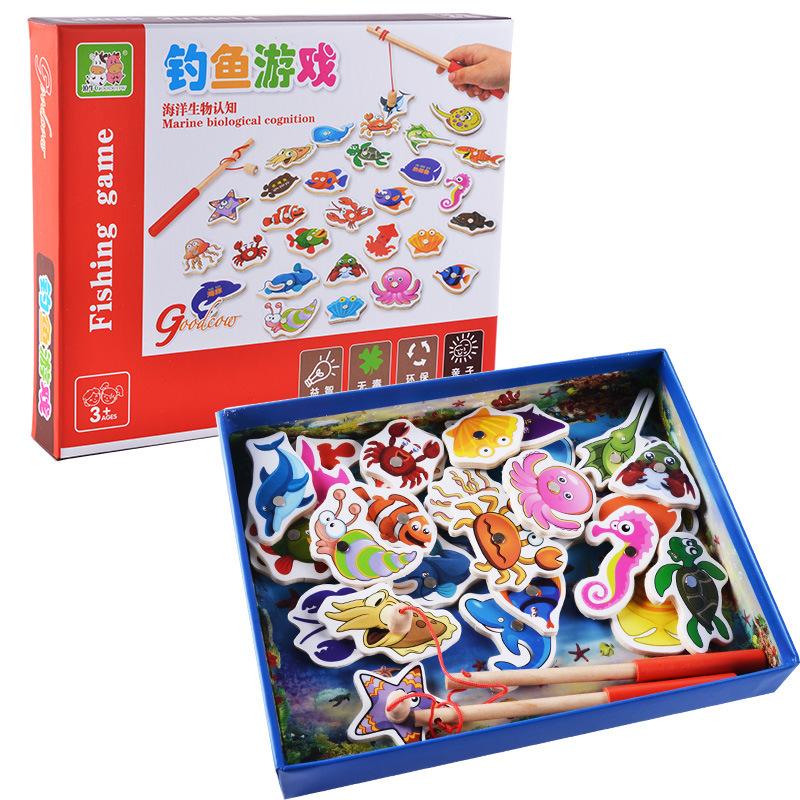 [해외]어린이 낚시 장난감 32pcs 물고기 나무 자석 낚시 장난감 세트 물고기 게임 소년 소녀를어린이 교육 장난감/Kids Fishing Toys 32Pcs Fish Wooden Magnetic Fishing Toy Set Fish Game Children Educa
