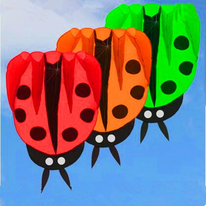 [해외]?큰 무당 벌레 연 ripstop 나일론 패브릭 연 뱃속 애니메이션 연 어린이 풍선 카이트 아름다운 손잡이 물고기/ large ladybug kite ripstop nylon fabric kite buggy animated kites for kids inflat