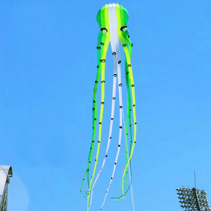 [해외]?고품질 소프트 연 에메랄드 낙지 하늘에서 연을 산책 parafoil 연 나일론 플라이 라인 립 스톱 나일론 직물/ high quality soft kite emerald octopus kite reel walk in sky parafoil kite nylon