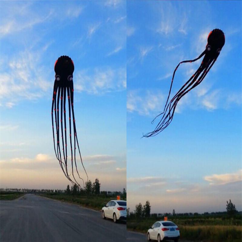 [해외]?양질의 연 연 검은 파울 낙지 연 립 스톱 나일론 카이트 릴 하늘에서 산책 웨이 팡 카이트 보드 알바트 로스/ high quality soft kite black paul octopus kite ripstop nylon kite reel walk in sky