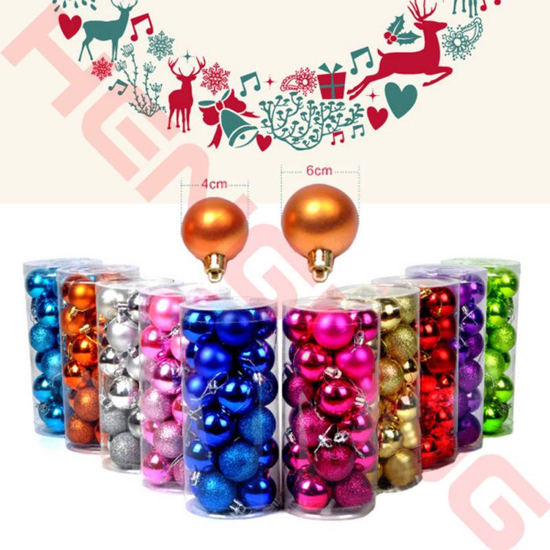 [해외]24 PCS 4 / 6cm 현대 크리스마스 트리 볼 싸구려 크리스마스 파티 장식 웨딩 장식 크리스마스 장식 용품 장난감 선물 걸려/24 PCS 4/6cm Modern Christmas Tree Ball Baubles Xmas Party Wedding Hangin