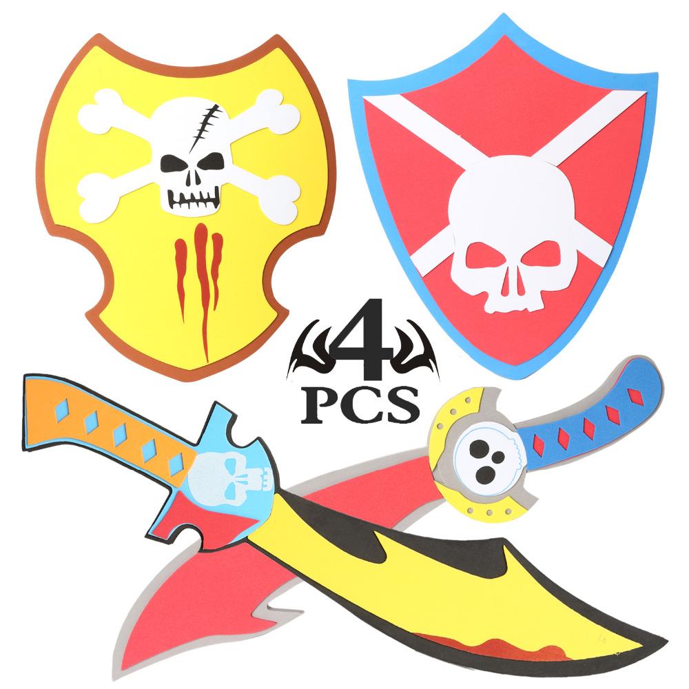 [해외]4PCS 액션 피규어 모듬 된 EVA 폼 스톤과 실드 워리어 무기 장난감 모델 척 플레이 키드 해적 바이킹/4PCS Action Figures Assorted EVA Foam Swords and Shields Warrior Weapons Toy Model Toy