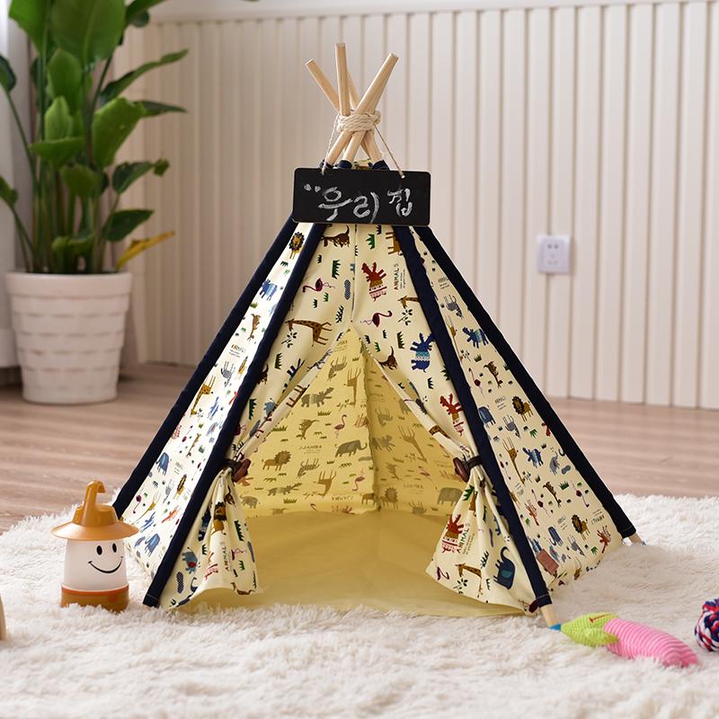 [해외]동물 인쇄 캔버스 개 Tipi 텐트 개 침대/Animal Printed Canvas Dog Tipi Tent Dog Bed