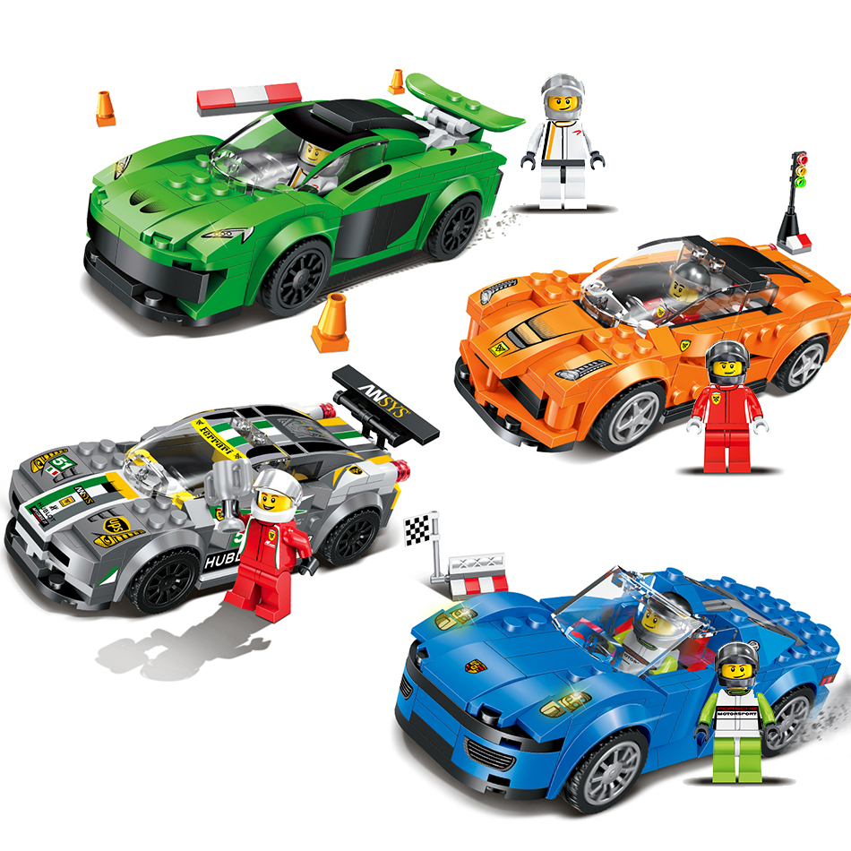 [해외]Qunlong 레이싱 카 빌딩 블록 교육 액션 피규어 호환 Legoe City Enlighten Bricks 크리스마스 선물 완구 for Kids/Qunlong Racing Car Building Blocks Educational Action Figures Co