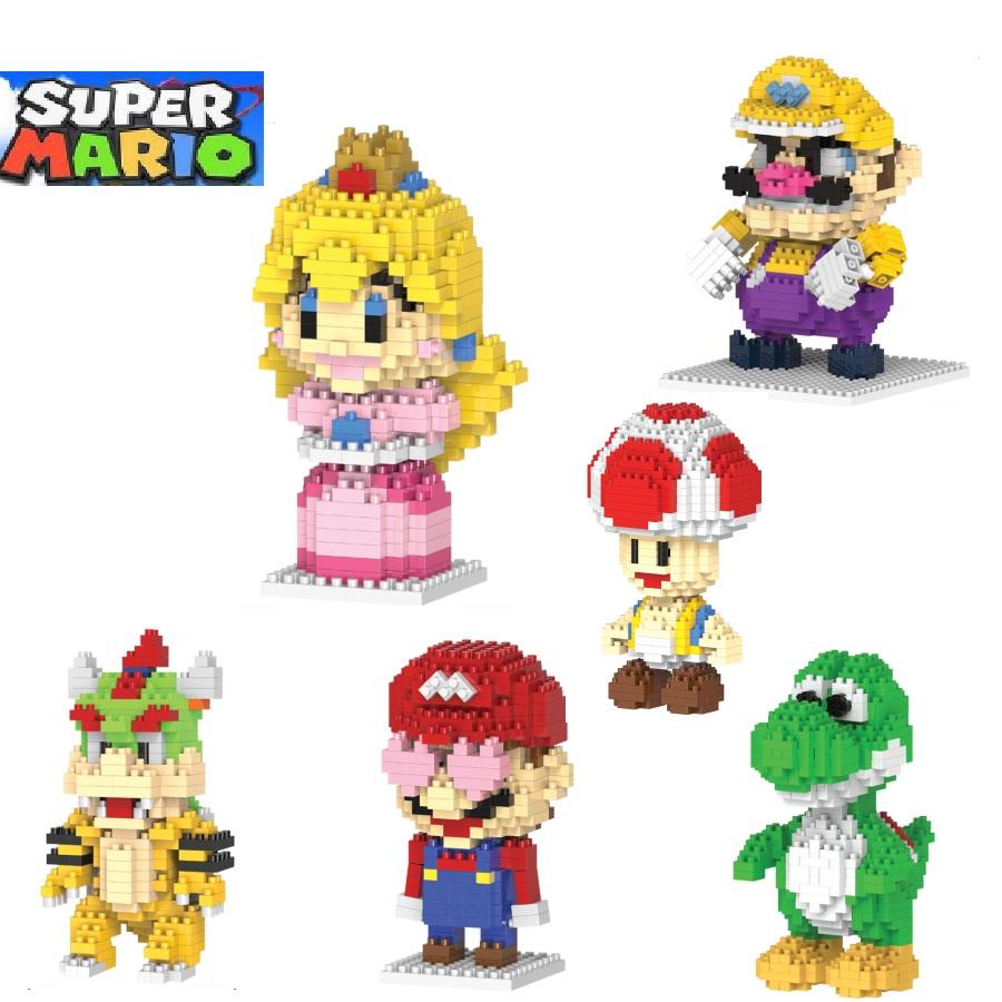 [해외]마리오 빌딩 블록 요시 만화 빌딩 장난감 Wario 경매 피규어 공주 Toadstool 복숭아 모델 완구 어린이를귀여운 선물/Mario building blocks Yoshi Cartoon Building toys Wario Auction Figures Prin