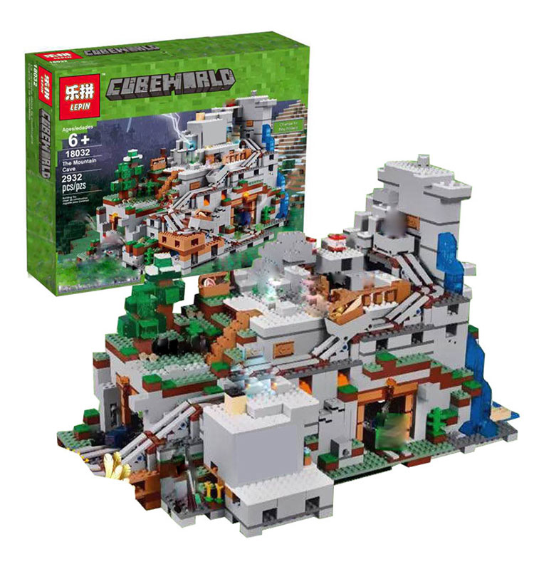 [해외]LEPIN 18032 모델 빌딩 키트 블록 벽돌 미니 크래프트 2932pcs Mountain Cave My worlds Compatiblelego 21137/LEPIN 18032 Model Building Kit Blocks Bricks Miniecraft 29