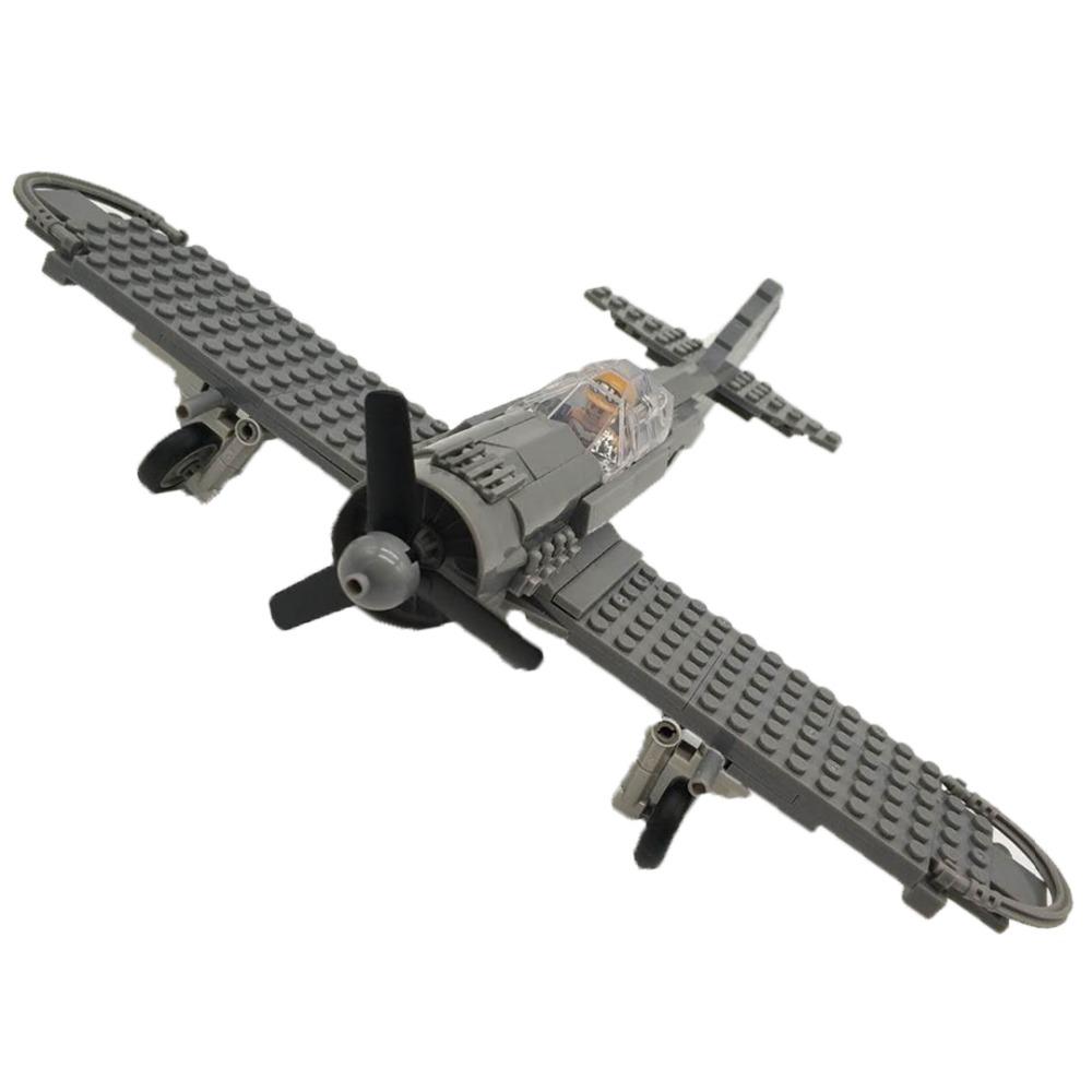 [해외]WW2 밀리터리 Focke-Wulf 190 전투기 빌딩 블록 비행기 모델 벽돌 파일럿 인형 LegoINGlys 장난감/WW2 Military Focke-Wulf 190 Fighter Building Blocks Airplane Models Bricks Pilot