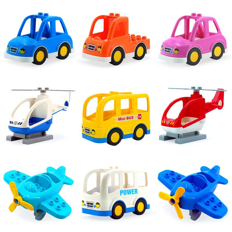 [해외]만화 자동차 미니 버스 비행기 헬리콥터 빅 입자 차량 빌딩 블록 액세서리 DIY Toys CompatibleDuplo 벽돌 세트/Cartoon Car mini bus plane helicopter Big Particles Vehicle Building Block